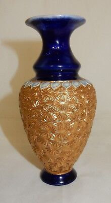 Antique Royal Doulton Blue and Gilt Stoneware Vase 6691