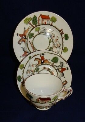 Vintage Crown Staffordshire Hunting Scene Cabinet Trio