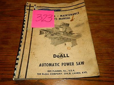 Doall Automatic Power Saw Original Operation & Maintenance Manual Lot # 323