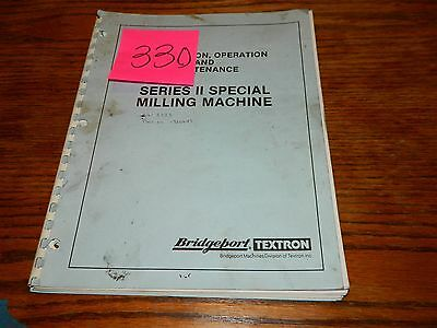 Bridegport Special Milling Original Operation & Maintenance Manual Lot # 330