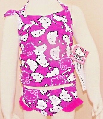 Hello Kitty  Girls' two Piece neon  Swimsuit  age 4 BNWT