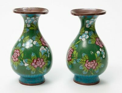 Pair Chinese Enamel over Copper Cloisonnes Vases with Large Floral Design