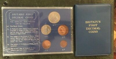 2 1968 Uncirculated Coin Set United Kingdom 1st Decimal 1/2 1 2 5 10 Pence Coins