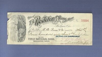 1906 Engraved Check RODEFER NATIONAL GLASS FIRST NATIONAL BANK BELLAIRE OHIO