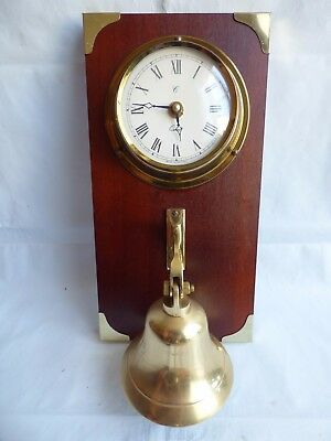 Old Large Brass Wall Mounted Door Bell With Marine Look Clock Vintage Wood Plate