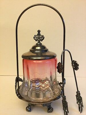 Victorian Rubina Glass Pickle Castor with Silverplate Quadruple Holder, marked