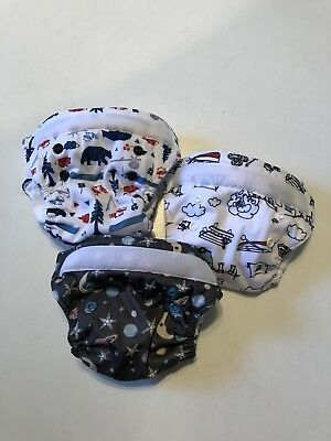 Lot of 3 Thirsties Newborn NB Natural All in One AIO Cloth Diapers