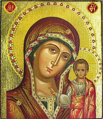 "Virgin Mary of Kazan Serigraph Icon Magnet Bronze Leaf 2 1/4""x2"" Thickness 1"""
