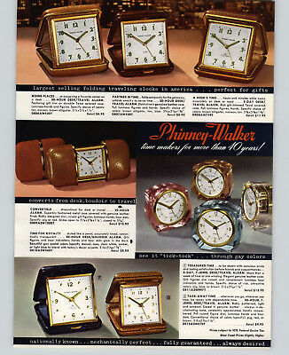 1957 PAPER AD 2 Sided Phinney Walker Travel Alarm Calendar Desk Mate Rhinestones