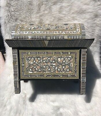 Vintage Handmade Marquetry Persian Box Mother Pearl Inlaid Mosaic Stand Wood
