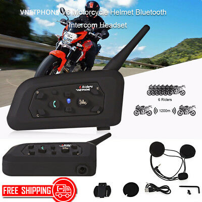 VNETPHONE V6 Motorcycle Bluetooth V3.0 Intercom Headset hands-free Headset 1200M