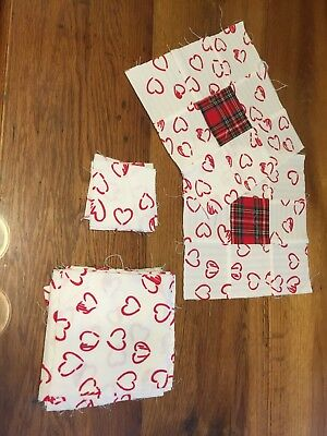 Red and White cotton fabric with heart print, nine patch and precut squares