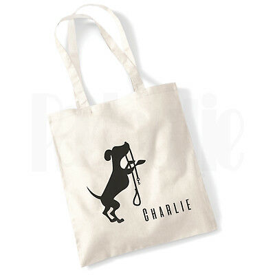 Personalised Dog Treats/Bits Tote Bag- 'Dog with lead'  GIFT FOR PET DOG OWNER