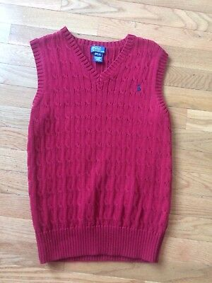 Polo Ralph Lauren Red Boys Sweater Vest Size Large 14/16