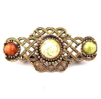Vintage Jewellery Lovely Celtic Agate Glass Cabochon Brooch
