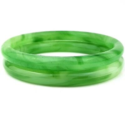 Vintage Jewellery Two Fabulous Jade Glass Bangles