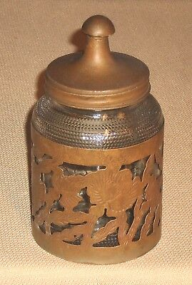 Antique Glass Coffee Container Alpaca Overlay EMB Mexico Signed 301k