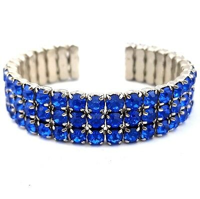 Vintage Jewellery Stunning Sapphire Crystal Band Flexible Cuff Bangle