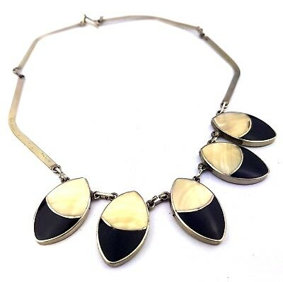 Vintage Jewellery Opaque Black and Mother of Pearl Glass Silver Tone Necklace