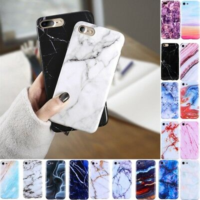 Granite Marble Texture Shockproof Soft Phone Cover Case For iPhone X 8 7 6 Plus