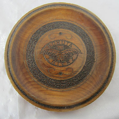 """10+"""" antique  vintage  WOODEN  plate   with  bat,   POKERWORK  and metal inlay"""