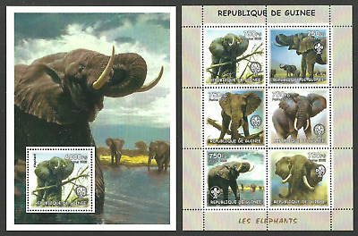 Guinea 2012 Wildlife Elephants Scouts Scouting Set Of 2 M/sheets Mnh