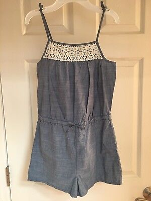Girls Oshkosh Romper Size 12 - Denim Color With Lace Accents