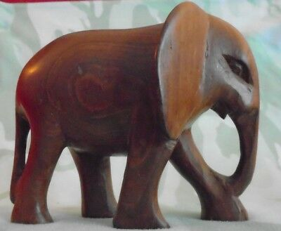 Wood Elephant Figurine Hand Carved In The Republic of Kenya