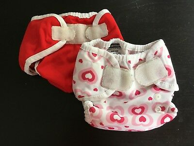 Set of 2 Thirsties Cloth Diaper Covers Size One and Small - Hearts and Red