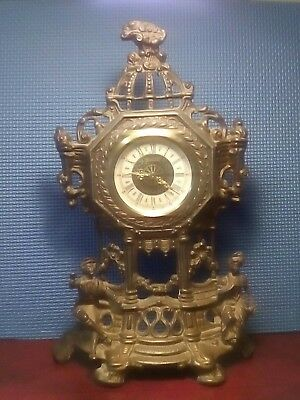 Antique Cast Brass Wind Up Mantle Clock. Working.