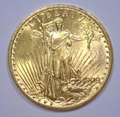 1909 $20 St. Gaudens Gold Double Eagle BU Lot 1673E