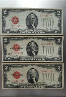 Lot of (3) 1928 $2 Red Seal Legal Tender Notes
