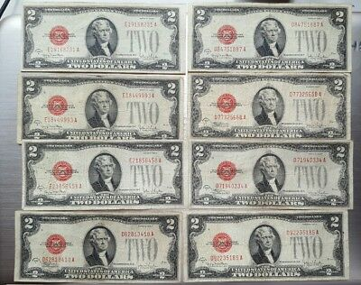 Lot of (8) 1928 $2 Red Seal Legal Tender Notes