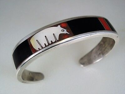 VINTAGE STERLING SILVER & MOSAIC INLAY PUEBLO BEAR BRACELET Andrew Turza Shows