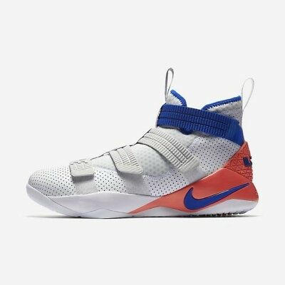 a70a1c7096be5 Nike LeBron Soldier XI SFG 897646-101 White Blue Infrared Men s Basketball  Shoes