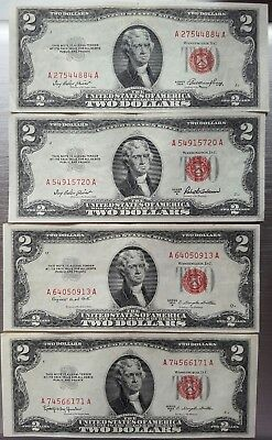 1953 A, B, C Lot Of 4 $2 Red Seal Legal Tender Notes -- COMPLETE SET