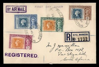 DR WHO 1948 MAURITIUS CANCEL REGISTERED AIR MAIL TO SOUTH AFRICA  d25263