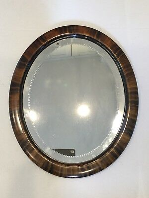 Antique Heavy Etched Oval Wooden Faux Tortoise Jacobean Wall Mirror