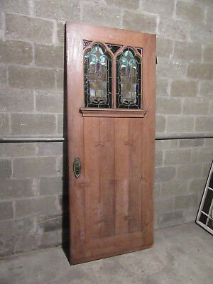 ~ Antique Gothic Stained Glass Door Oak ~ 36 X 88 ~ Architectural Salvage ~