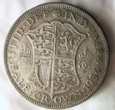 1934 GREAT BRITAIN 1/2 CROWN - High QUALITY Vintage Silver Coin - Lot #615