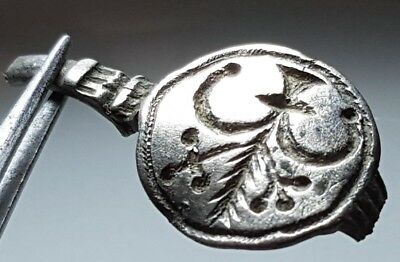 Byzantine Silver Ring Top * Early Christian Cross Grain