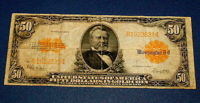 1922 FIFTY Dollar U.S. GRANT $50 GOLD Certificate Large Size Note