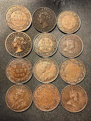 Old Canada Coin Lot - 1899-1920 - LARGE CENTS - 12 Coins - Lot #615