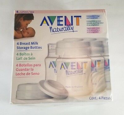 Avent Naturally 4 Breast Milk Storage Bottles - 4 x 125 ml - Factory-Sealed