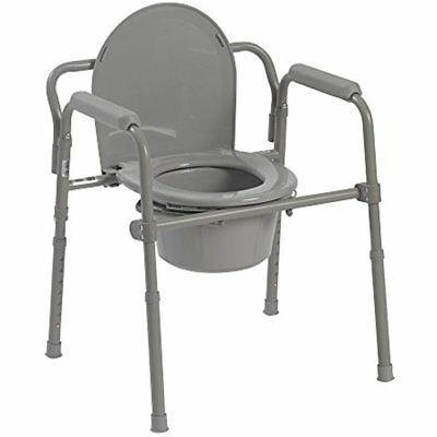 Steel Folding Commode Chair Raised Over Toilet Seat Bedside Bathroom Potty New
