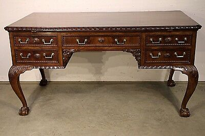 Antique English Chippendale writing desk carved ornate mahogany Georgian handles