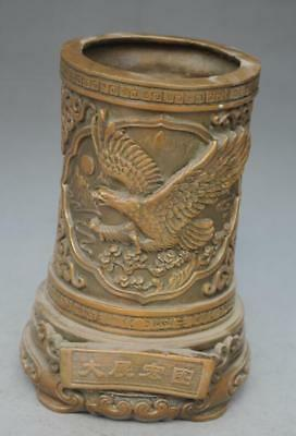 COLLECTIBLE OLD CHINESE BRASS HANDMADE CARVED EAGLE BRUSH POT e02