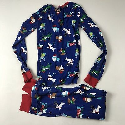 Childrens Place Boys Pajama Set Size 14 Blue Christmas Dogs 2 Piece L/S