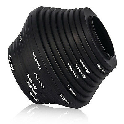 18pcs Step Up Down Lens Filter Ring Adapter Set 37 - 82mm For Canon Nikon US