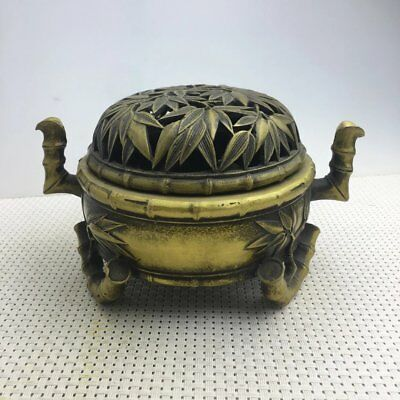 Chinese Antique pure  copper hand-carved bamboo hollow out incense burner e02